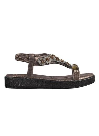 Mhd 3202 Platin Kadın Sandalet Gümüş